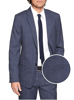 Standard-Fit Stretch Navy Plaid Blazer