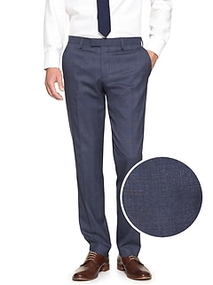 Slim-Fit Stretch Navy Plaid Trouser