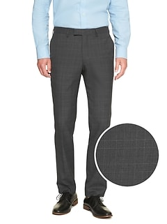 Slim-Fit Stretch Grey Glen Plaid Trouser