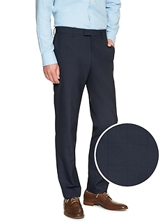 Commute Proof Slim-Fit Navy Print Pant