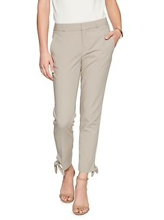 Petite Avery Side Tie Hem Tailored Ankle Pant