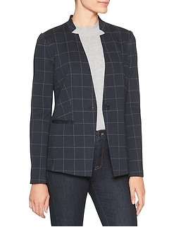 Petite Machine Washable Navy Windowpane Inverted Collar Ponte Suit Blazer