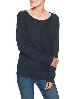 Mixed Ribbed Boatneck Sweater