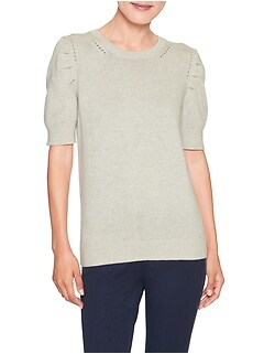 Puff Shoulder Crew Neck Sweater