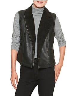 Machine Washable Vegan Leather Shearling Lined Vest