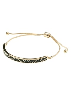 Tribal Black Enamel Pull Through Bracelet