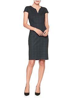 Plaid Split Neck Sheath Dress