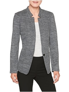 Inverted Collar Soft Stretch Blazer
