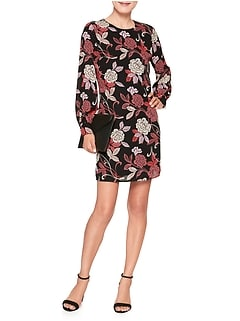 Petite Print Blouson Sleeve Shift Dress
