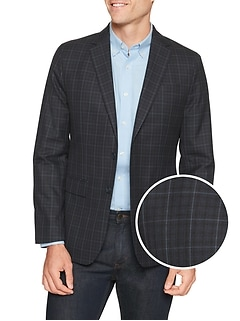 Slim-Fit Blue Windowpane Blazer