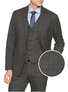 Slim-Fit Stretch Grey Glen Plaid Blazer