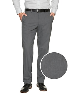 Standard-Fit Stretch Grey Chalk Stripe Trouser