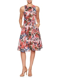 Petite Print Belted Fit and Flare Dress