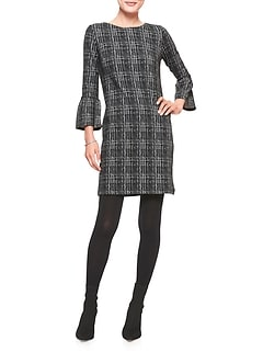 Windowpane Bell Sleeve Stretch Shift Dress