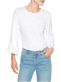 Flounce Sleeve Designer T Shirt
