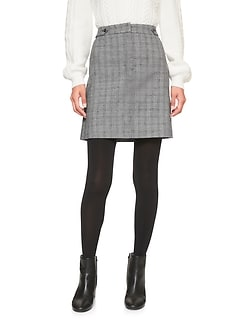Glenplaid Button Tab A-Line Skirt