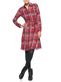 Plaid Tailored Shirt Dress