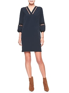 Lantern Sleeve Inset Shift Dress