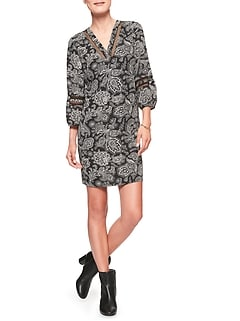 Print Lantern Inset Shift Dress