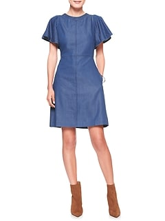 Flutter Sleeve Denim Shift Dress