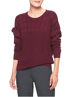 Ruffle Sleeve Lattice Stitch Crew Neck Sweater