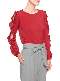 Crepe Ruffle Sleeve Top