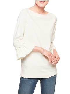 Ponte Ruffle Pleat Sleeve Top