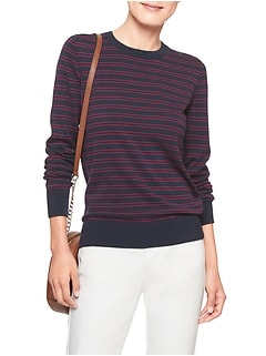 Double Stripe Machine Washable Forever Crew Neck Sweater