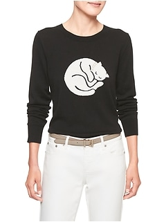 Petite Machine Washable Cat Forever Crew Neck Sweater