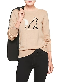 Petite Machine Washable Fox Forever Crew Neck Sweater