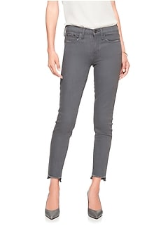 Mid Rise Grey Denim Step-Hem Skinny Crop Jean
