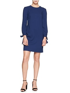 Petite Tie Cuff Shift Dress