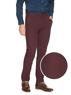 Aiden Slim-Fit Burgundy Print Pant