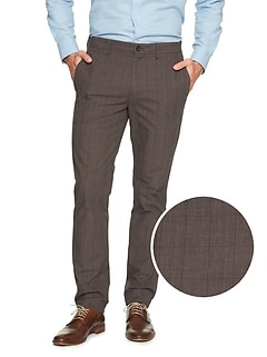 Aiden Slim-Fit Brown Plaid Pant