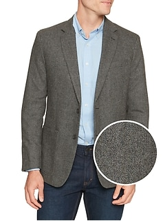 Standard-Fit Wool Blend Black and White Herringbone Blazer
