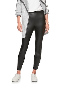 Faux Leather Panel Legging