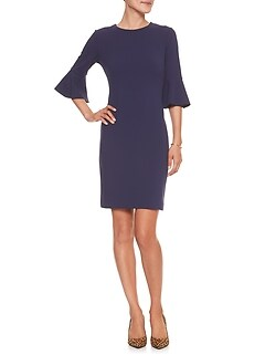 Petite Flare Sleeve Stretch Sheath Dress