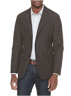 Slim-Fit Brown Windowpane Blazer