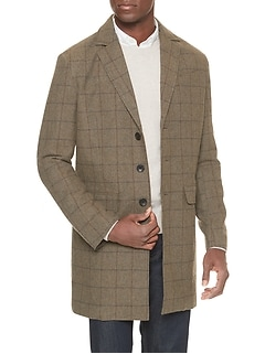 Wool Blend Windowpane Topcoat
