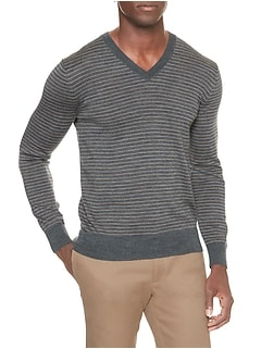 Stripe Merino V-Neck Pullover Sweater