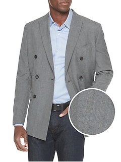 Slim-Fit Grey Glenn Plaid Double Breasted Blazer