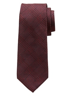 Burgundy Plaid Tie