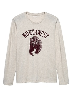 Long Sleeve Northwest Bear Graphic T Shirt