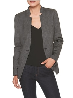 Petite Machine Washable Heathered Ponte Inverted Collar Suit Blazer