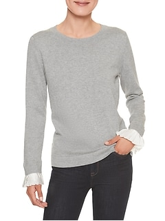 Mixed Material Pleated-Cuff Crew Neck Sweater
