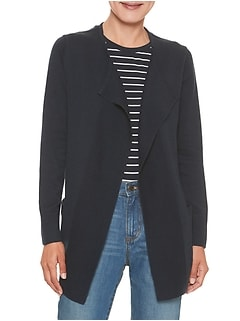 Ribbed Placket Open Front Sweater