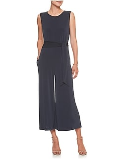 Sleeveless Crew Neck Wide-Leg Jumpsuit