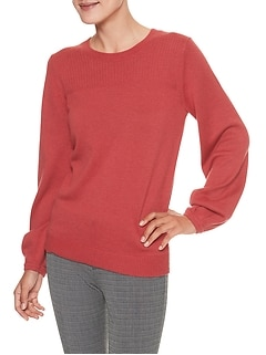 Blouson Sleeve Crew Neck Sweater