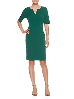 Split Neck Sheath Dress