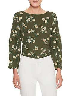 Print Volume Sleeve Boatneck Top